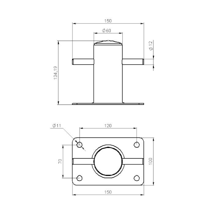 020202T. Кнехт одинарный 60 мм с основанием