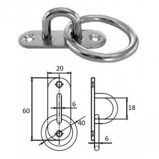 1021-1306. Планка овальная с проушиной и кольцом 6 мм AISI 304