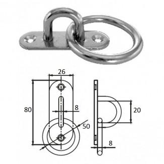 1021-1308. Планка овальная с проушиной и кольцом 8 мм AISI 304