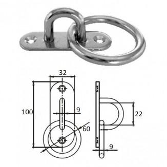 1021-1309. Планка овальная с проушиной и кольцом 9 мм AISI 304