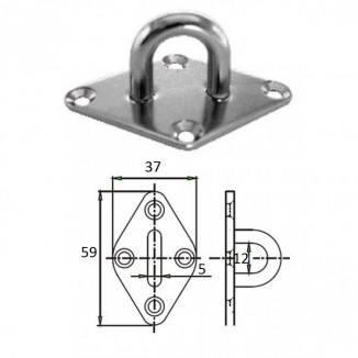 1023-0305. Планка ромб с проушиной 5 мм AISI 304