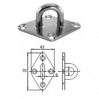 1023-0306. Планка ромб с проушиной 6 мм AISI 304