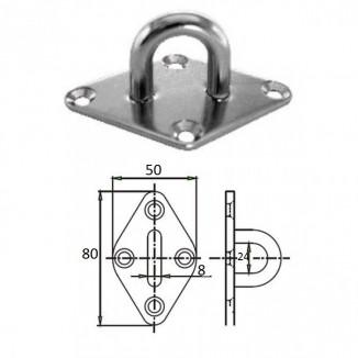 1023-0308. Планка ромб с проушиной 8 мм AISI 304