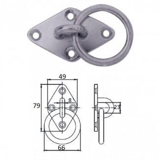 1023-1305. Планка ромб с кольцом 5 мм AISI304