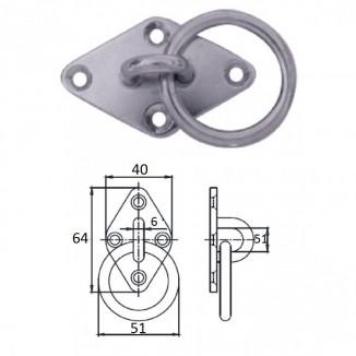 1023-1306. Планка ромб с кольцом 6 мм AISI304