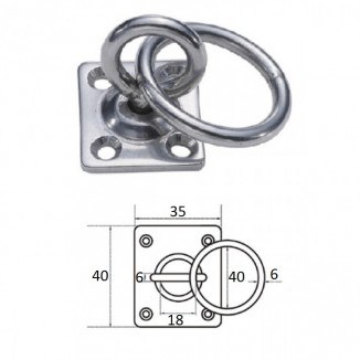 1029-0406. Планка квадратная с поворотной проушиной и кольцом 6мм