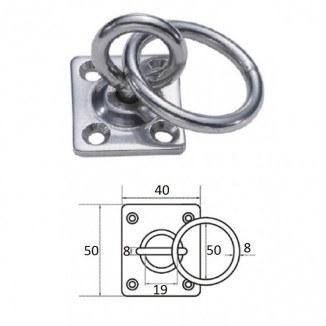 1029-0408. Планка квадратная с поворотной проушиной и кольцом 8мм