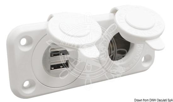 14.516.12. Гнездо прикуривателя двойное с USB белое 14.516.12