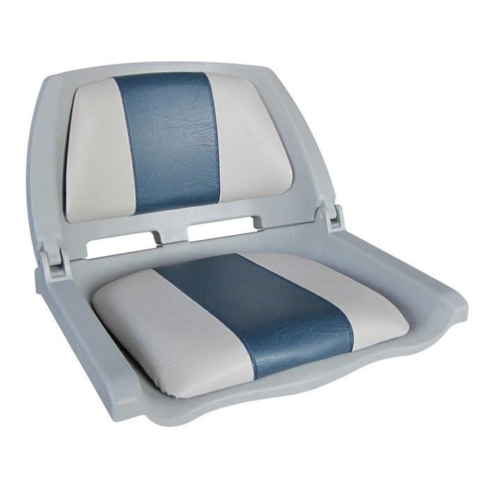 75109GB. Сиденье пластмассовое складное с подложкой Molded Fold-Down Boat Seat,серо-голубое
