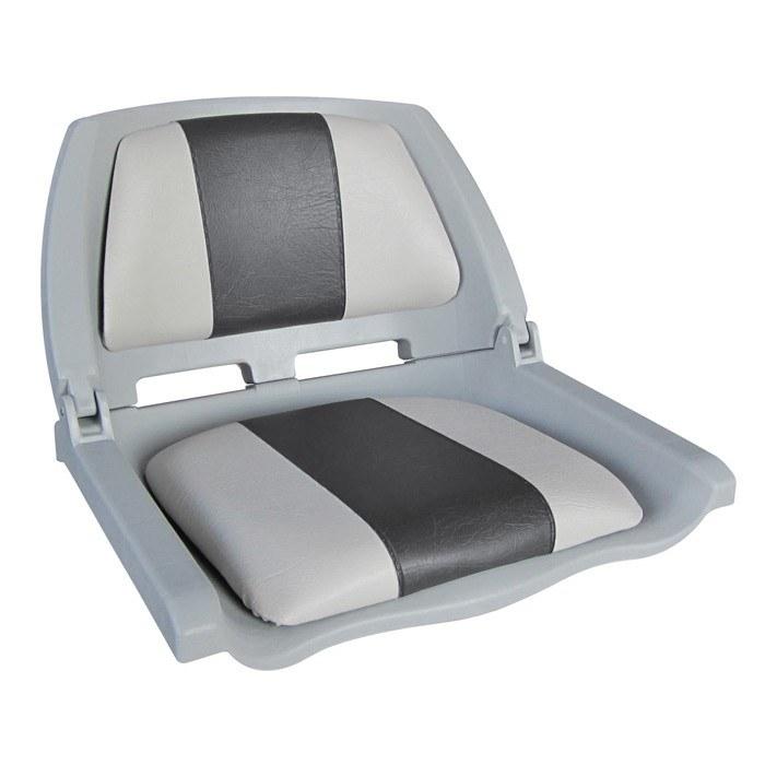 75109GC. Сиденье пластмассовое складное с подложкой Molded Fold-Down Boat Seat,серо-чёрное