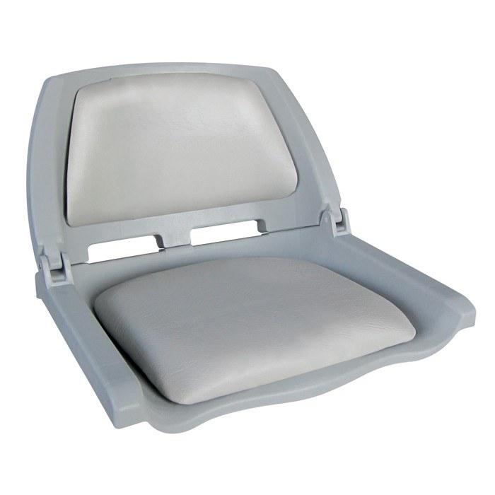 75109G. Сиденье пластмассовое складное с подложкой Molded Fold-Down Boat Seat, серое