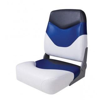 75128WBC. Сиденье мягкое складное Premium High Back Boat Seat, бело-синее