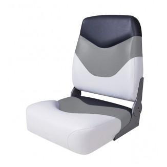 75128WGC. Сиденье мягкое складное Premium High Back Boat Seat, бело-серое