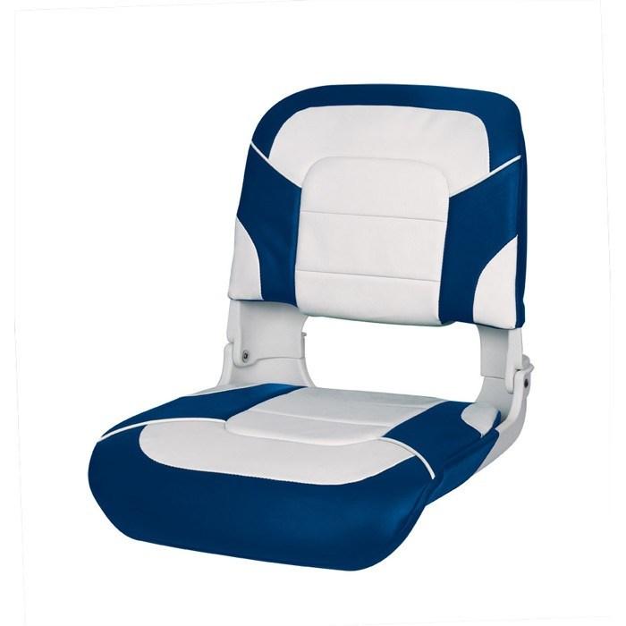 75140WB. Сиденье пластмассовое складное с подложкой All Weather High Back Seat, бело-синее