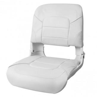 75140W. Сиденье пластмассовое складное с подложкой All Weather High Back Seat, белое