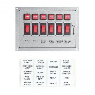 C91318. Панель монтажгая 6 переключателей серебрист C91318